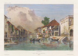 Manila: View of a canal. After Théodore-Auguste Fisquet, one of the artists on the voyage of La Bonite 1836-7.