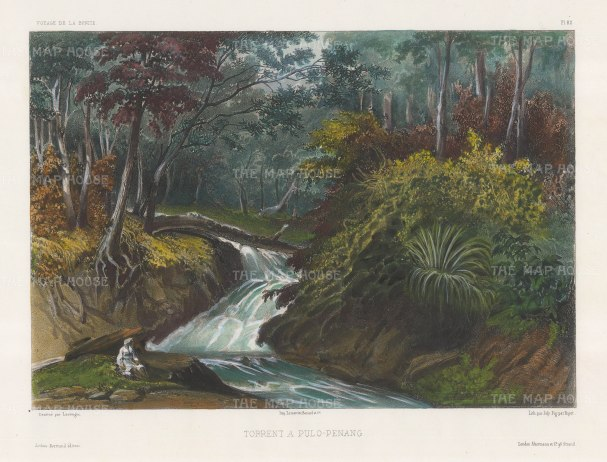 Penang Island: Batu Ferrenghi Waterfalls. After Barthélemy Lauvergne, one of the artists on the voyage of La Bonite 1836-7.