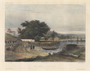 Penang Island: George Town: Crew disembarking in the port. After Barthélemy Lauvergne, one of the artists on the voyage of La Bonite 1836-7.