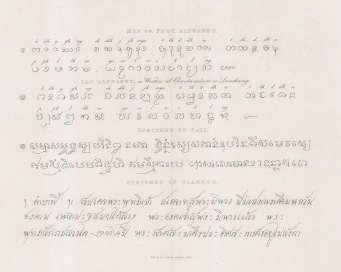 SOLD. Samples of the Siamese, Pali (a form of Prakrit), and Pegu (Burmese) alphabets.