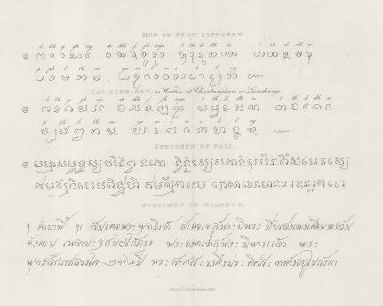 Samples of the Siamese, Pali (a form of Prakrit), and Pegu (Burmese) alphabets.