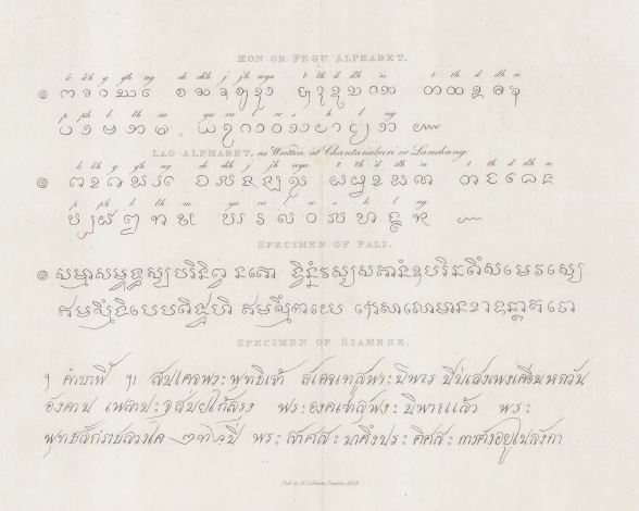 Samples of the Siamese, Pali (a form of Prakrit), and Pegu (Burmese) alphabets.