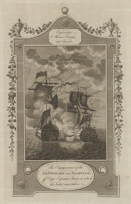 Samal Island: Cape Espiritu Santo. Commodore Anson and the HMS Centurion capturing the Nuestra Senora de Covadonga, a Manila-Acapulco galleon.
