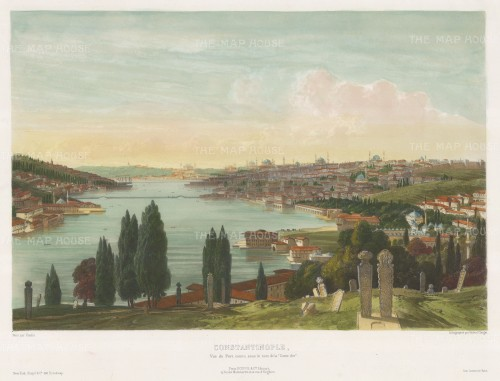 View from the Eyup cemetery, looking from the heights towards the Golden Horn (Halic). After Alexandre Raulin.