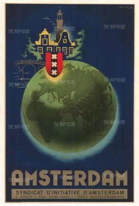 "van Os: Eastern Hemisphere. c1950. An original vintage colour print. 25"" x 38"". [WLD4305]"