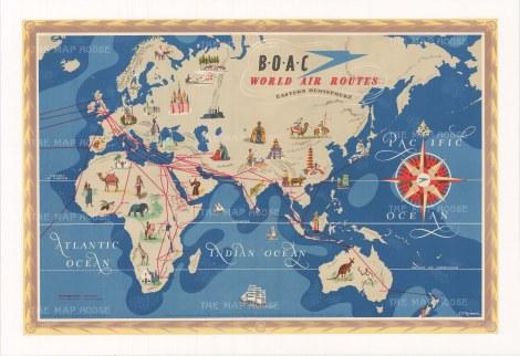 """BOAC: World Air Routes. c1949. An original vintage chromolithograph. 29"""" x 20"""". [WLD4307]"""
