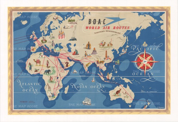 "BOAC: World Air Routes. c1949. An original vintage chromolithograph. 29"" x 20"". [WLD4307]"