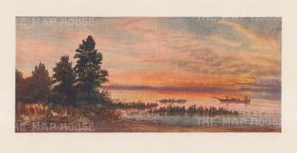 """Mower Martin: Lake Superior. 1907. An original antique chromolithograph. 6"""" x 4"""". [CANp656]"""