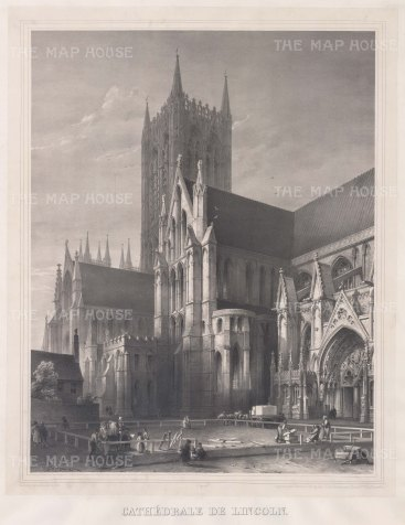 "Simonau: Lincoln Cathedral, Lincolnshire. 1843. An original antique steel engraving. 23"" x 29"". [ENGp108]"