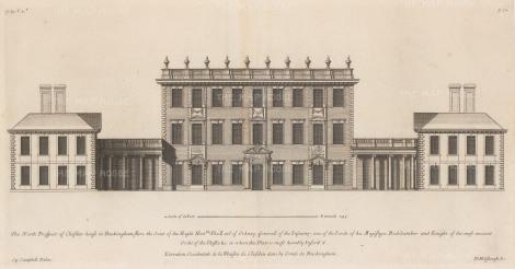 "Campbell: Cliveden, Berkshire. 1720. An original antique copper engraving. 20"" x 10"". [ENGp109]"