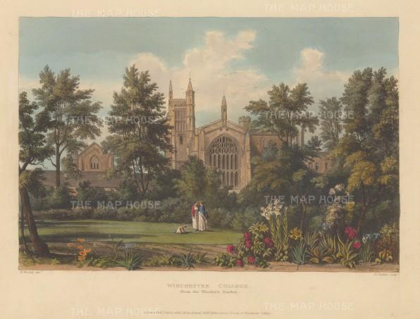 "Ackermann: Winchester, Hampshire. 1816. An original colour antique aquatint. 12"" x 10"". [ENGp218]ENGp116w"