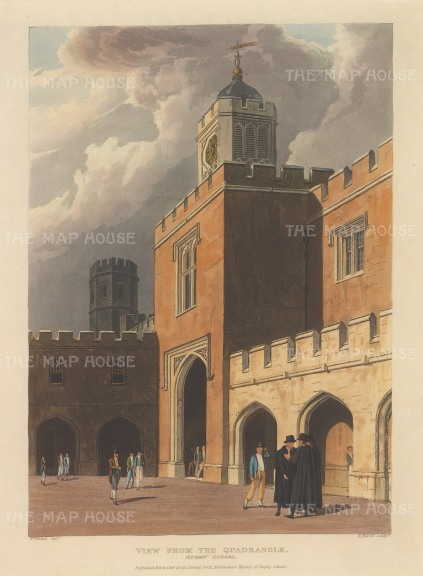 "Ackermann: Rugby, Warwickshire. 1816. An original colour antique aquatint. 10"" x 12"". [ENGp152]"