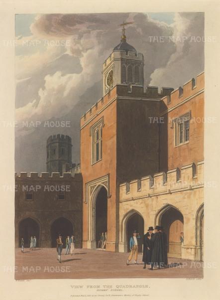 "Ackermann: Rugby, Warwickshire. 1816. An original colour antique aquatint. 10"" x 12"". ENGp152]"