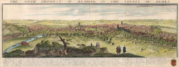 "Buck: Reading, Berkshire. 1741. A hand coloured original antique copper engraving. 31"" x 11"". [ENGp198]"