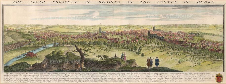 "Buck: Reading, Berkshire. 1741. A hand coloured original antique copper engraving. 31"" x 11"". [ENGp198}"