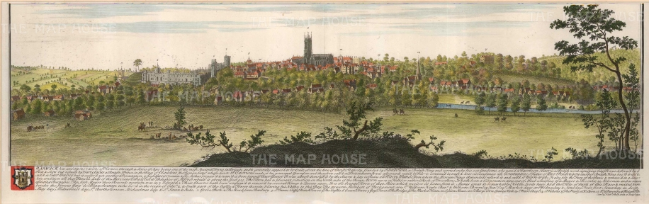 "Buck: Warwick. 1741. A hand coloured original antique copper engraving. 31"" x 11"". [ENGp199]"