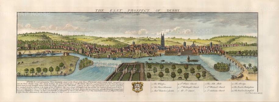 "Buck: Derby, Derbyshire..1728. A hand coloured original antique copper engraving. 31"" x 16. [ENGp206]"