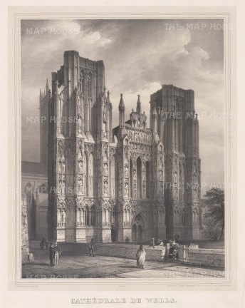 "Simonau: Wells Cathedral, Somerset. 1843. An original antique steel engraving. 23"" x 29"". [ENGp210]"