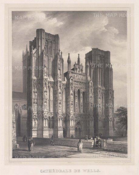 "Simonau: Wells Cathedral, Somerset. 1843. An original antique steel engraving. 23"" x 29"". [ENGp210]"