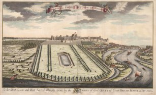 "Kip: Windsor, Berkshire. 1715. A hand coloured original antique copper engraving. 36"" x 23"". [ENGp213]"