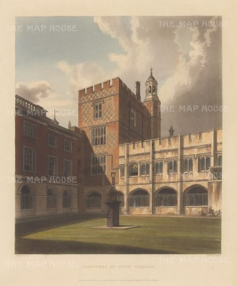 "Ackermann: Eton, Berkshire. 1816. An original colour antique aquatint. 10"" x 12"". [ENGp218]"