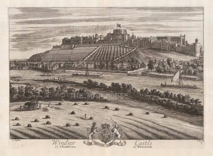 "Kip: Windsor, Berkshire. 1715. An original antique copper engraving. 19"" x 14"". [ENGp280]"