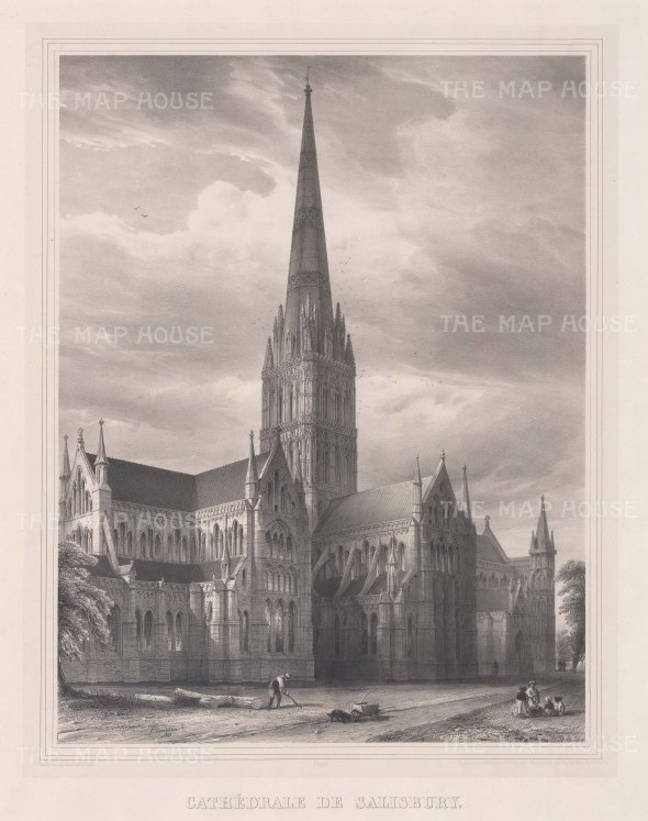 "Simonau: Salisbury Cathedral, Wiltshire. 1843. An original antique steel engraving. 23"" x 29"". [ENGp295]"