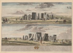 "Loggan: Stonehenge, Wiltshire. 1715. A hand coloured original antique copper engraving. 24"" x 18"". [ENGp65]"