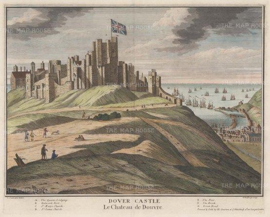"Saelmaker: Dover Castle, Kent. 1715. A hand coloured original antique copper engraving. 23"" x 16"". [ENGp66]"