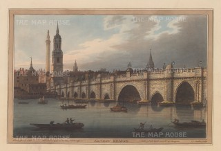 London Bridge: View from bank of the Thames. Until 1750 London Bridge was the only bridge spanning the Thames.