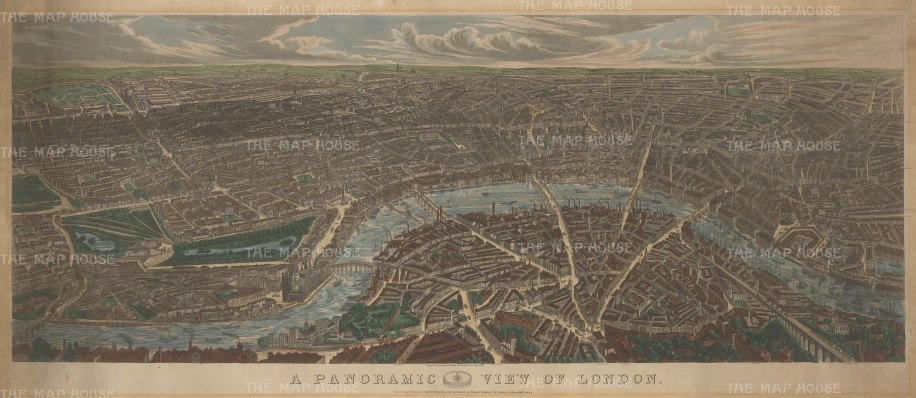 RARE: Birds-eye view from above Kennington looking north. From Vauxhall Bridge to London Docks.1st printed as a Cosmographic view in 1843.