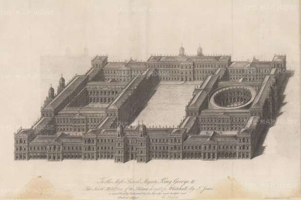 Whitehall Palace: North-west view. Designed by Inigo Jones, the Palace was the residence of the monarch from 1530 until 1698 when all but the Banqueting House was destroyed by fire.