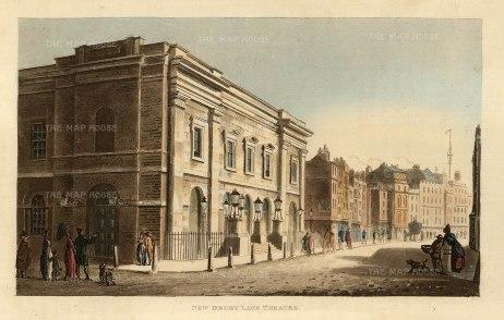 "Papworth: Drury Lane Theatre. 1816. An original colour antique aquatint. 8"" x 6"". [LDNp10279]"