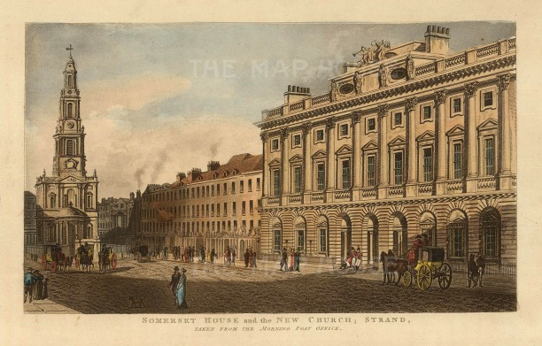 Somerset House and the New Church, St Mary le Strand: Viewed from the Morning Post office.
