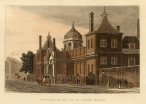 British Museum: View of the exterior of Montagu House, the first British Museum.