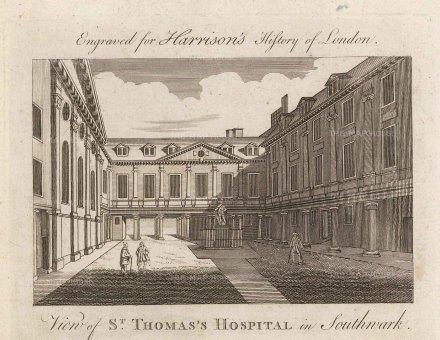 "Harrison: St. Thomas's Hospital. 1775. An original antique copper engraving. 7"" x 5"". [LDNp10332]"