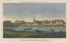 "Harrison: Chiswick. 1775. A hand coloured original antique copper engraving. 14"" x 7"". [LDNp10353]"