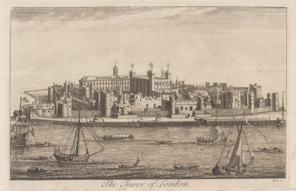 "Stow: Tower of London. 1754. An original antique copper engraving. 14"" x 9"". [LDNp10384]"