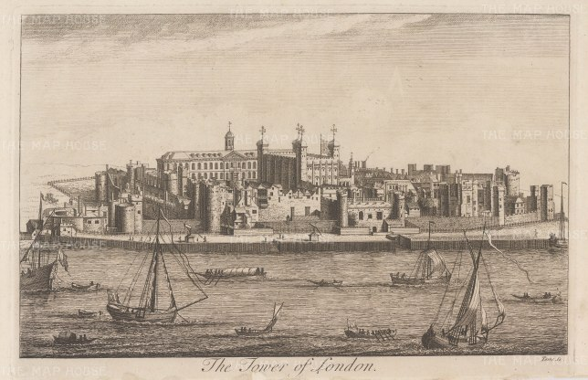 """Stow: Tower of London. 1754. An original antique copper engraving. 14"""" x 9"""". [LDNp10384]"""