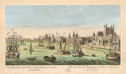 Thames view from the Tower of London to St Paul''s Cathedral: Showing the old London Bridge before the demolition of the houses 1758-62.
