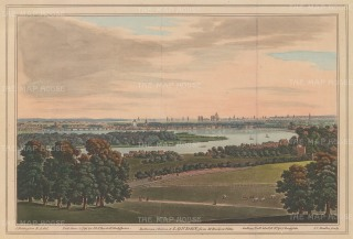 Panorama over Battersea and Chelsea towards the city: From a position southwest of Wimbledon.