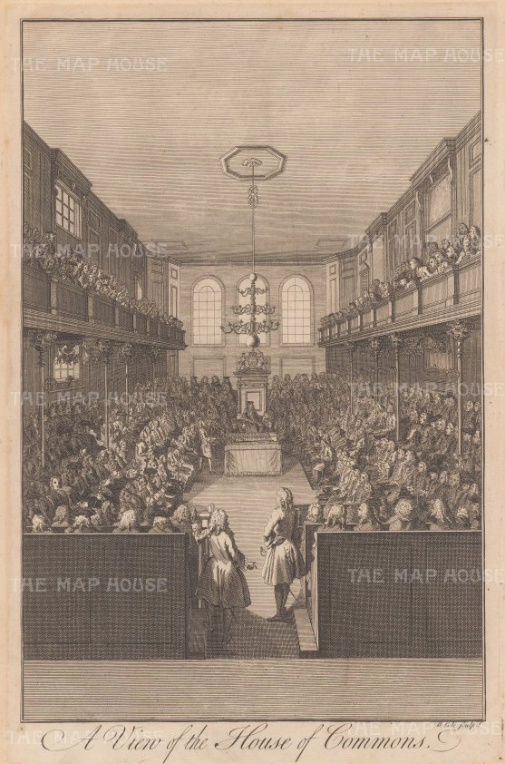 "Maitland: House of Commons. 1756. An original antique copper engraving. 10"" x 15"". [LDNp10542]"