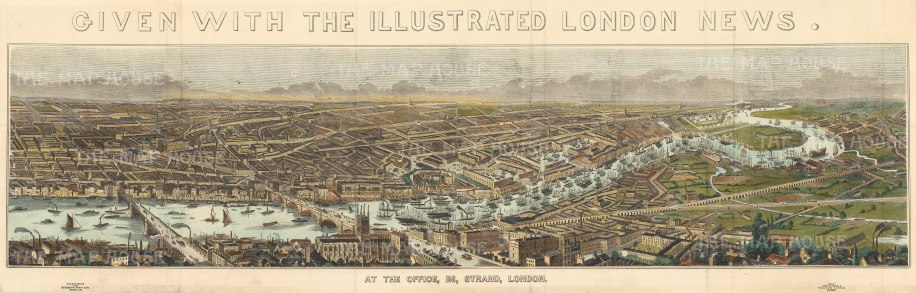 Thames Panorama: Showing Blackfriars to the Isle of Dogs, and Southwark to Greenwich.