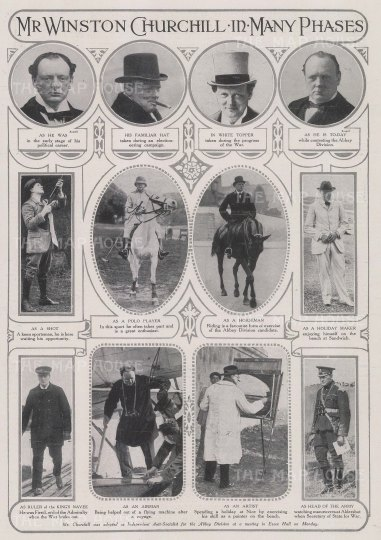 Sir Winston Churchill: Eleven portraits of Churchill in different guises from polo player to airman to artist.