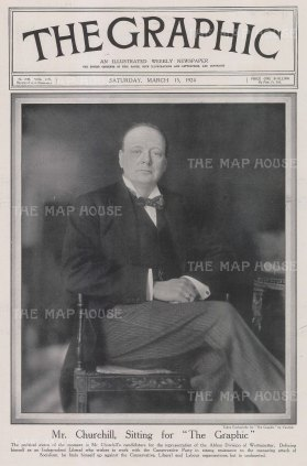 Sir Winston Churchill: Portrait of the Independent Liberal candidate.