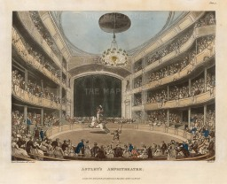 Astley's Amphitheatre: View of an equestrian performance. Former cavalryman Philip Astley is considered the father of the modern circus with his invention of the circus ring at his riding school in 1768.
