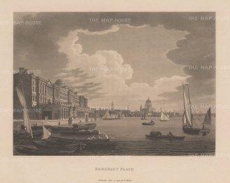 "Malton: Somerset Place. 1800. An original antique aquatint. 14 "" x 11"". [LDNp2981]"