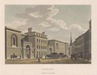 "Malton: Newgate Prison. 1800. A hand coloured original antique aquatint. 14"" x 11"". [LDNp2987]"