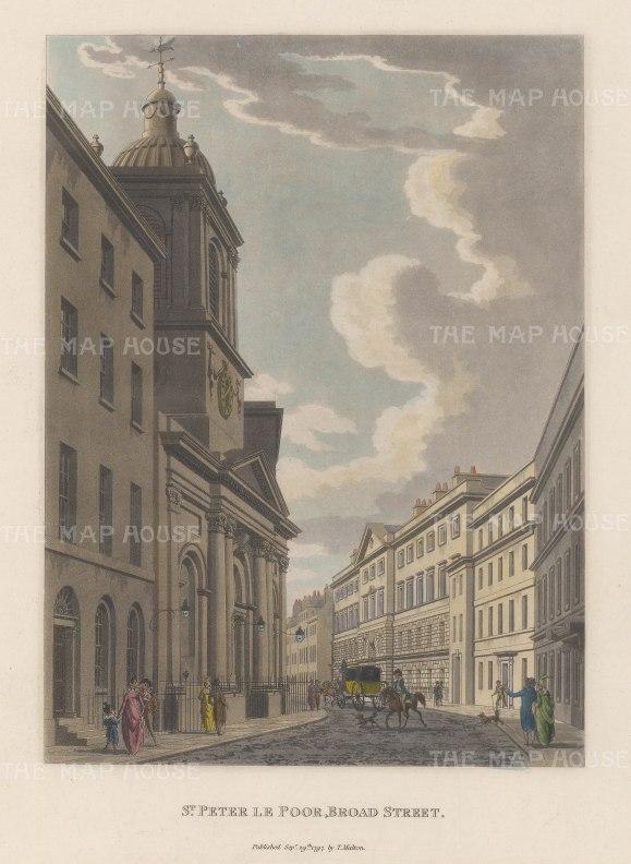 """Malton: St. Peter le Poor, Broad Street. 1800. A hand coloured original antique aquatint. 11"""" x 14"""". [LDNp2988]"""
