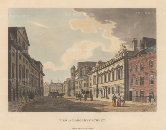 "Malton: Margaret Street. 1800. A hand coloured original antique aquatint. 14"" x 11"". [LDNp2991]"